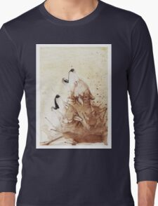 Watercolor Howling Wolves Long Sleeve T-Shirt