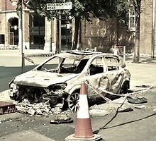 Burnt-out Police Car - London Riots 2011 by Matthew Floyd