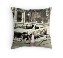 Burnt-out Police Car - London Riots 2011 Throw Pillow
