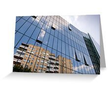 modern skyscraper with glass wall Greeting Card