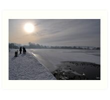 Winter Scene Frozen Lake Art Print