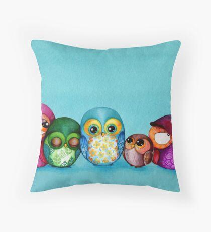 Fabric Owl Family Throw Pillow