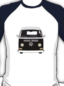 Early Bay VW Camper Front Black T-Shirt