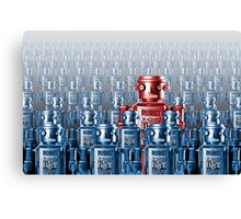 Robot Standing Out in a Crowd Canvas Print