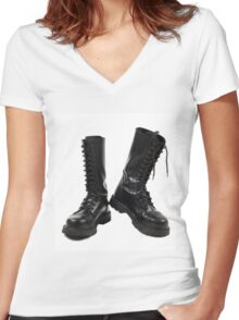 Pair of black leather bovver boots Women's Fitted V-Neck T-Shirt