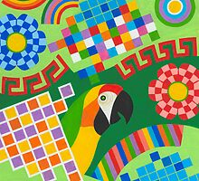 Colors An Shapes With Squares - Brush And Gouache by RainbowArt