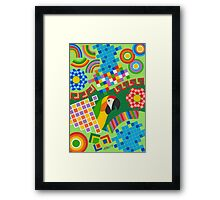 Colors An Shapes With Squares - Brush And Gouache Framed Print