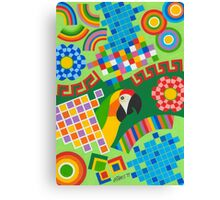 Colors An Shapes With Squares - Brush And Gouache Canvas Print