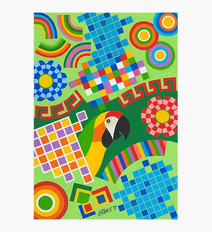 Colors An Shapes With Squares - Brush And Gouache Photographic Print