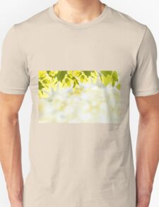 Elm green leaves and blurred space T-Shirt
