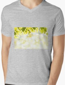 Elm green leaves and blurred space Mens V-Neck T-Shirt
