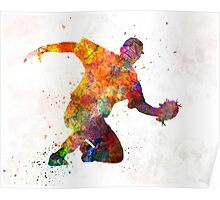 Baseball player catching a ball Poster