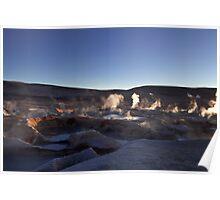 Sunrise at he boiling mud pools at the Sol de Manana Geyser, Atacama, Altiplano, Sud Lipez, Chile border, Bolivia, South america Poster