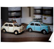 Old Italian Fiat 500 Cinquecento toys in a shop, Piazza Armerina, Sicily, Italy, Mediterranean sea, Europe, EU Poster