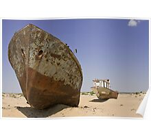 Wrecks on the seabed of the old Aral sea , Moynak , Uzbekistan , Central Asia Poster
