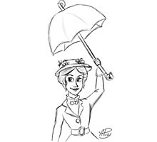 Mary Poppins Sketch Photographic Print