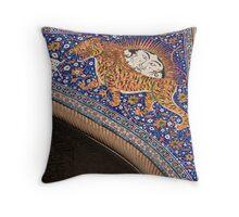 The Sher-Dor (Having Tigers) Madrasah designed by architect Abdujabor, Samarkand, Uzbekistan, Central Asia. Throw Pillow