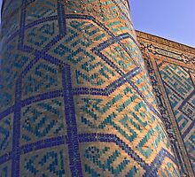 """Tower of a Madrasah in the Registan square, """"The Sandy place"""" in Samarkand, Uzbekistan. by Thibaut PETIT-BARA"""