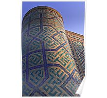 """Tower of a Madrasah in the Registan square, """"The Sandy place"""" in Samarkand, Uzbekistan. Poster"""