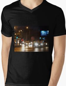 Abstract blurred image of a night scene with bright lights Mens V-Neck T-Shirt