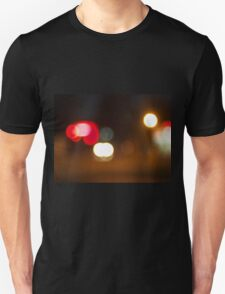 Abstract blur image of round spots of bright multicolored lights Unisex T-Shirt