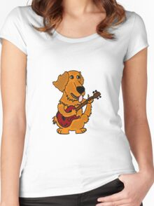 Funny Golden Retriever Dog Playing Red Guitar Women's Fitted Scoop T-Shirt