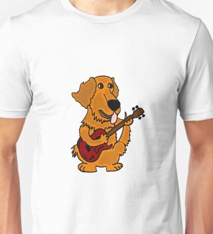 Funny Golden Retriever Dog Playing Red Guitar Unisex T-Shirt