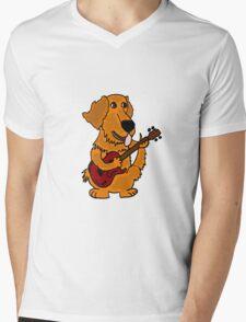 Funny Golden Retriever Dog Playing Red Guitar Mens V-Neck T-Shirt