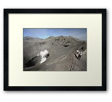 Tourists viewing the caldera of Bromo Mountain (Gunung Bromo) Framed Print