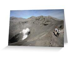 Tourists viewing the caldera of Bromo Mountain (Gunung Bromo) Greeting Card