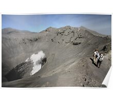 Tourists viewing the caldera of Bromo Mountain (Gunung Bromo) Poster