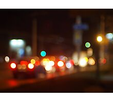 Abstract blur image of a night scene with bright lights Photographic Print
