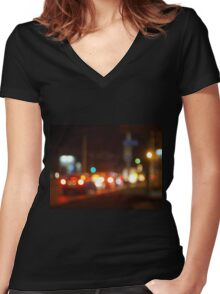 Abstract blur image of a night scene with bright lights Women's Fitted V-Neck T-Shirt