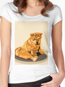 Hand drawn water color illustration of chow chow dog. Women's Fitted Scoop T-Shirt