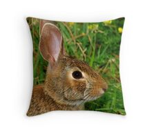 A Profile of an Eastern Cottontail Throw Pillow