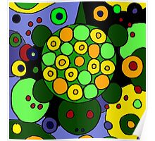 Funky Green Turtle Abstract Art Original Poster