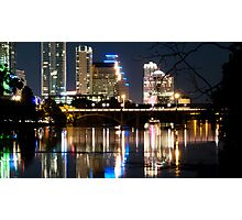 Reflections of Austin Skyline in Lady Bird Lake at night Photographic Print