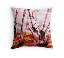 Gum Trees looking messy, watercolor Throw Pillow