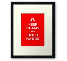 Keep Clams and Hold Hands (Otters Holding Hands) Framed Print