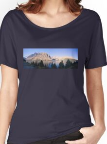 Crow Mountain, Crow Glacier and Bow Lake Panorama Women's Relaxed Fit T-Shirt