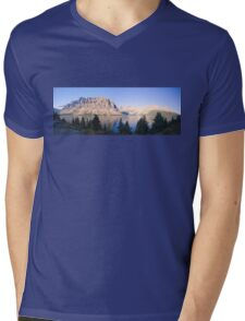Crow Mountain, Crow Glacier and Bow Lake Panorama Mens V-Neck T-Shirt