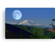 Moon Over Rainier Canvas Print