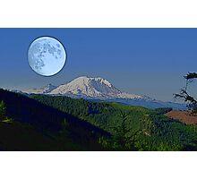 Moon Over Rainier Photographic Print