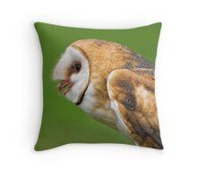 Barn owl profile Throw Pillow