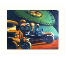 Old Toys with Fish Creel Art Print