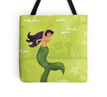 Coney Island Mermaid with Black Hair Tote Bag