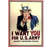 Uncle Sam - I Want You for US Army Photographic Print