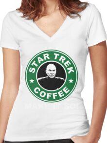 Star Trek Coffee - Make it So! Women's Fitted V-Neck T-Shirt