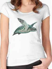 """Moonlit"" - Green Sea Turtle, Acrylic Women's Fitted Scoop T-Shirt"