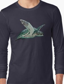 """Moonlit"" - Green Sea Turtle, Acrylic Long Sleeve T-Shirt"